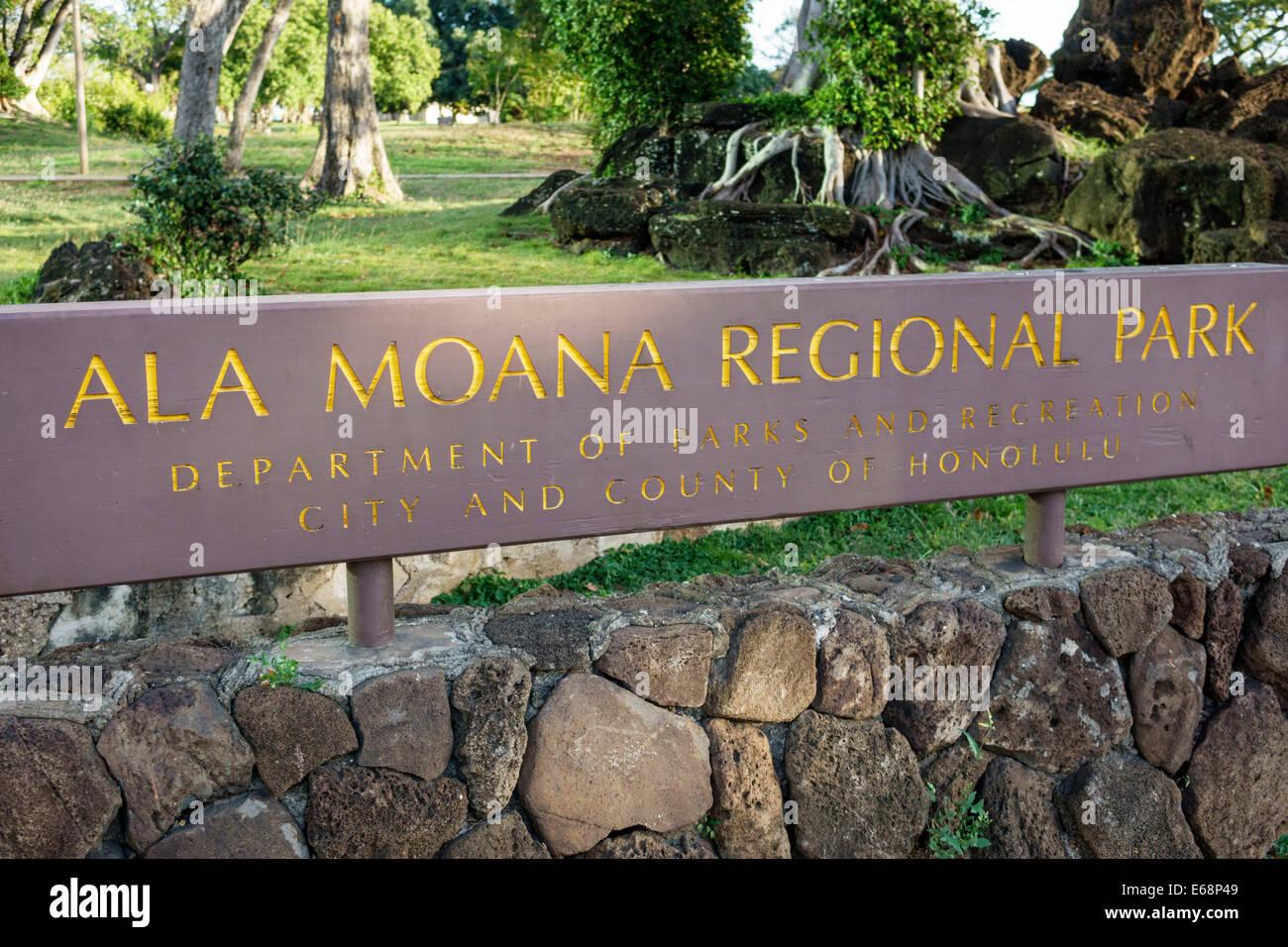 Hawaii Hawaiian Honolulu Ala Moana Beach State Regional Park sign Stock Photo