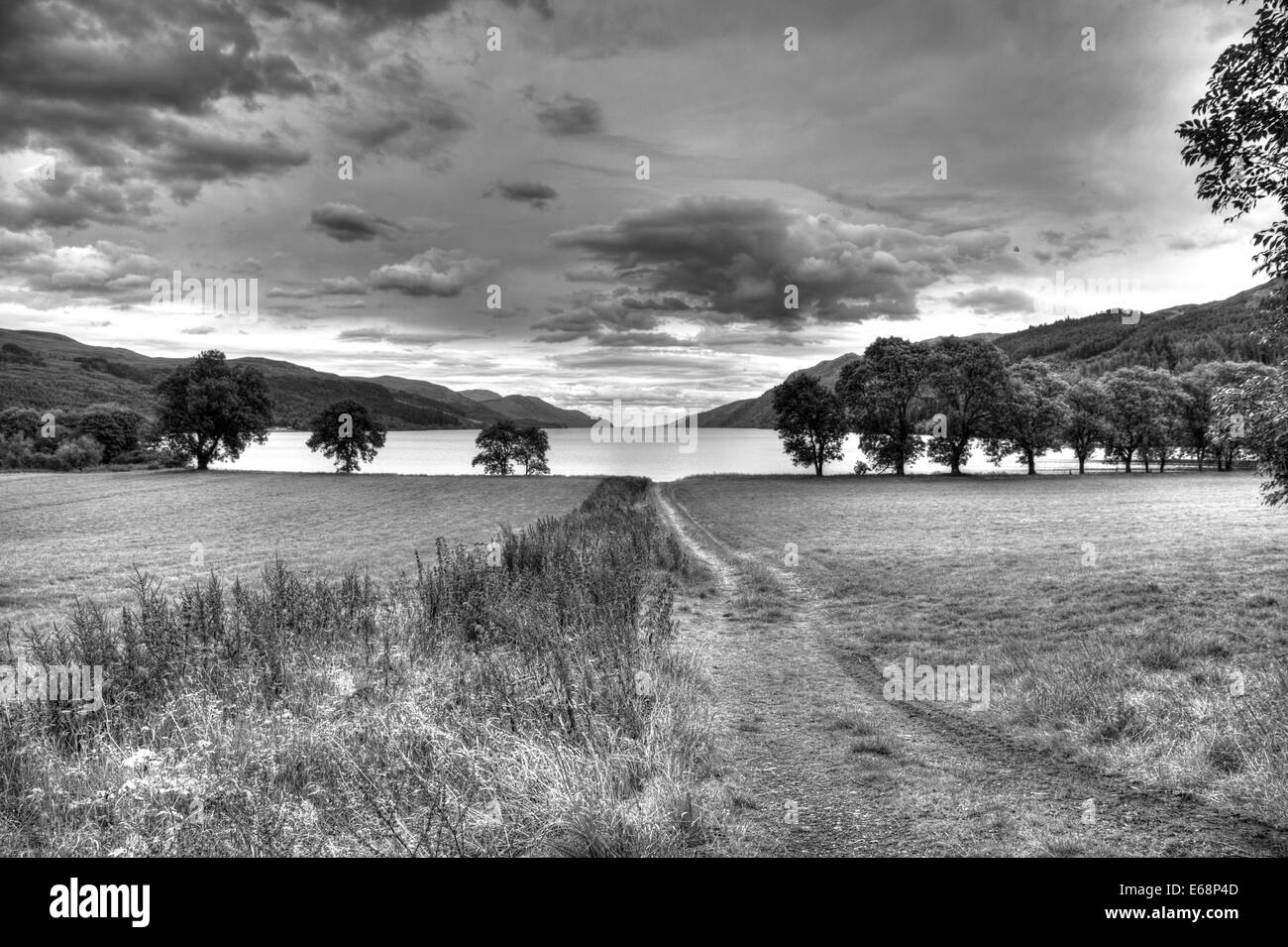 Black and white Landscape shot at the edge of Loch Ness - Stock Image