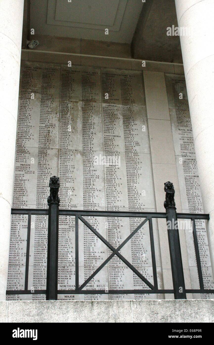Menin Gate, Ypres, War dead names on a wall - Stock Image