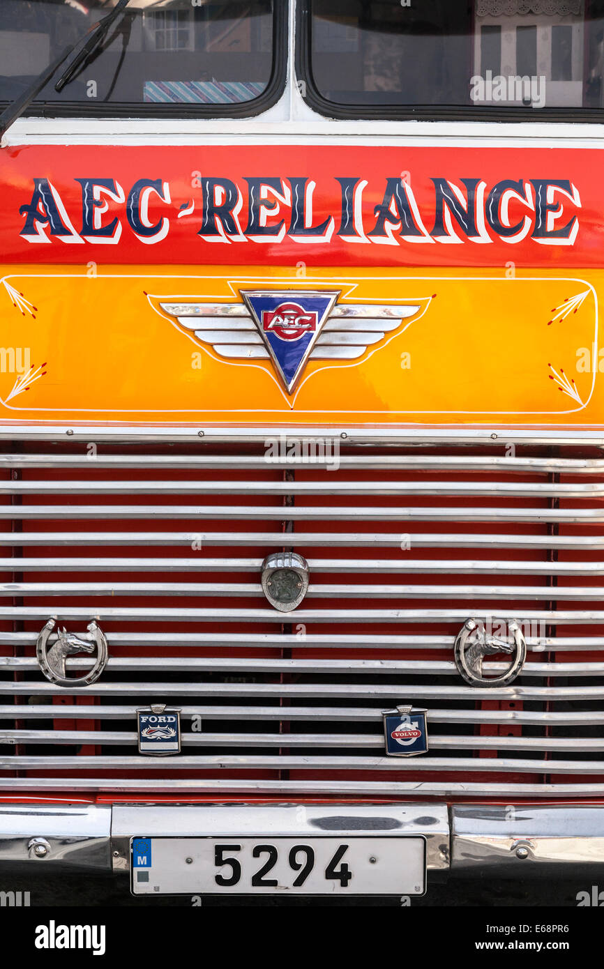 Detail of an old Maltese classic bus front and grill, sadly these old buses are no longer used as Malta's main - Stock Image