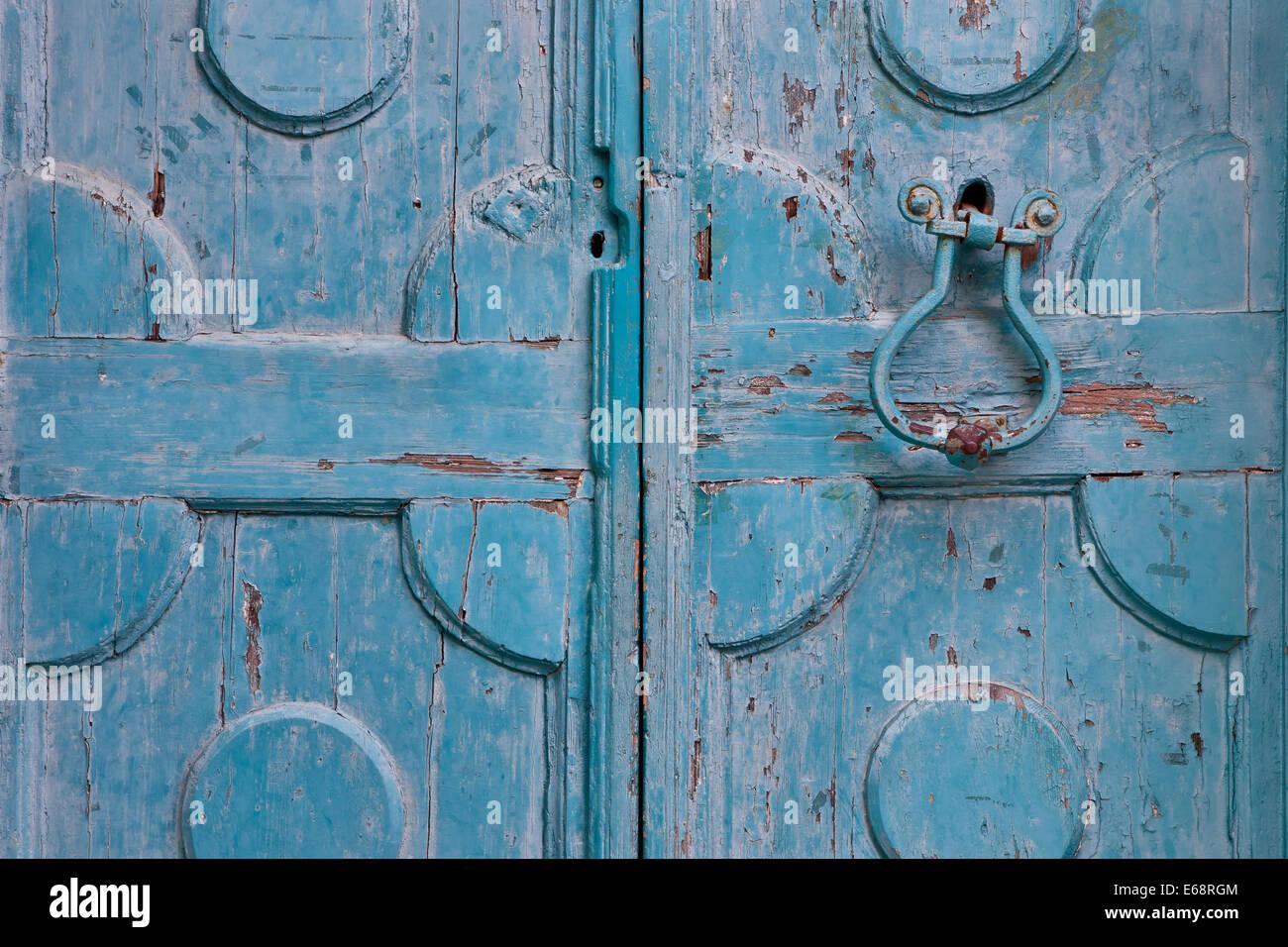 Old doors on Battiala Lazzarini palace, Labin, Istria, Croatia - Stock Image