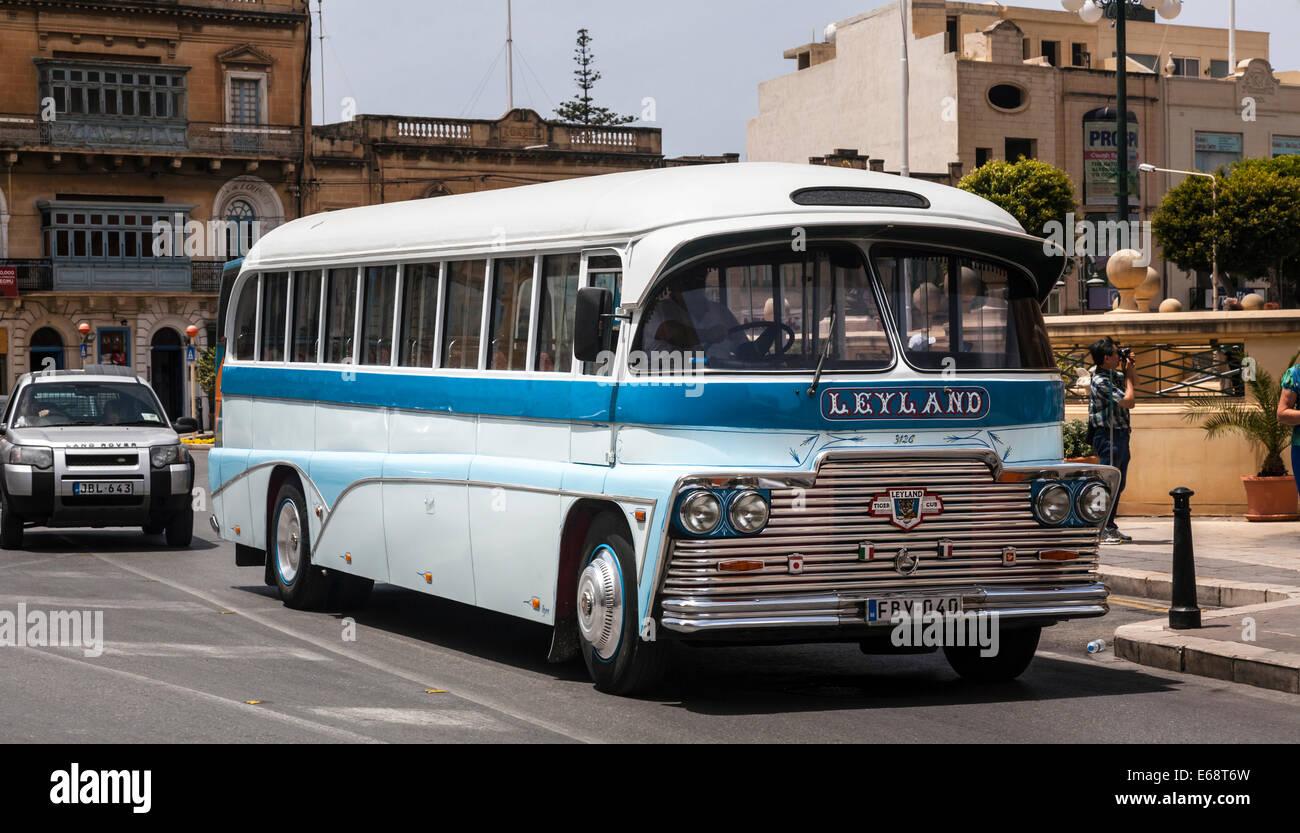Vintage Leyland bus, Mosta, Malta. - Stock Image