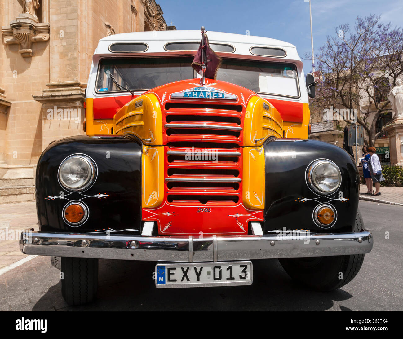 One of Malta's old buses (Fordson Thames coach) no longer used as public transport  but there are still some - Stock Image