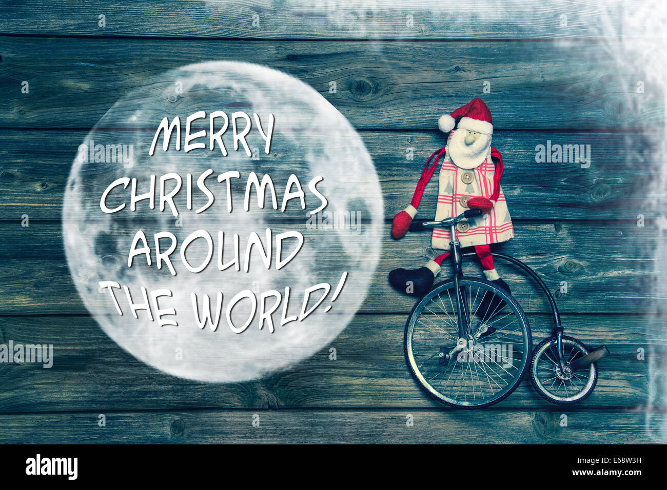 Merry christmas around the world - greeting card with english text ...