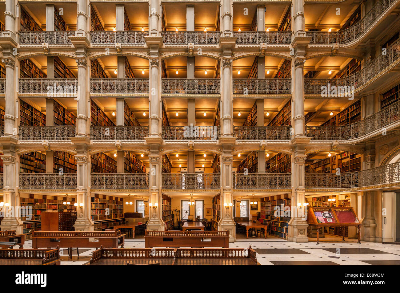 Baltimore George Peabody Library one of the most beautiful famous libraries in the world. - Stock Image