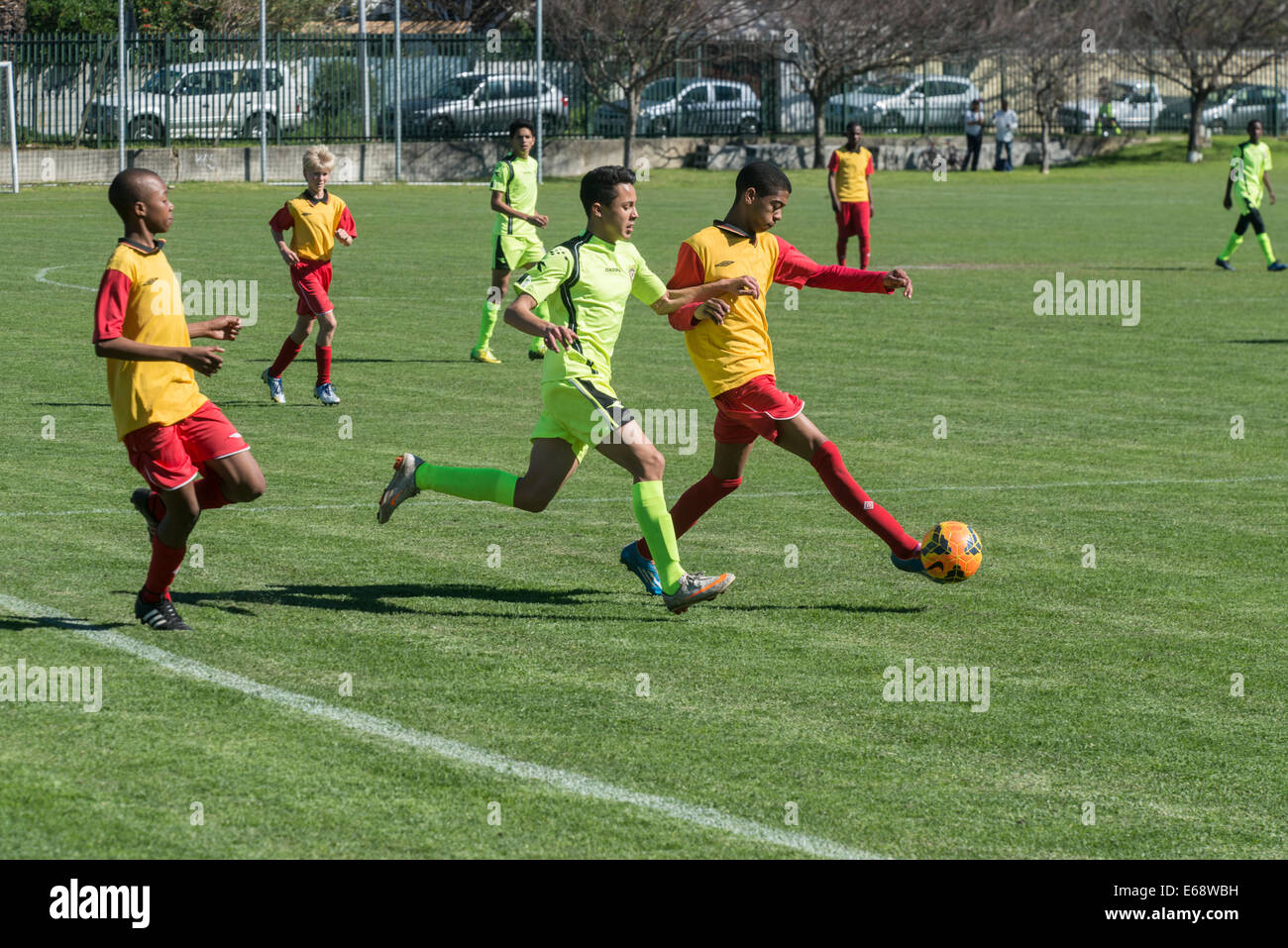 Football match of Under 15 youth teams, Cape Town, South Africa - Stock Image