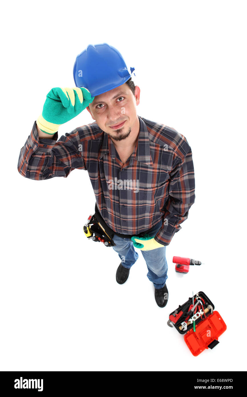 smiling caucasian young manual worker view from above - Stock Image