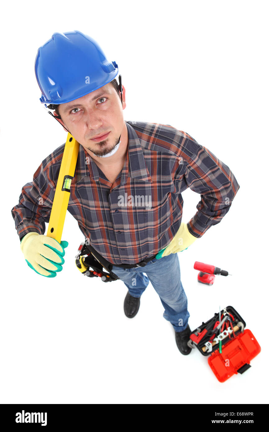 caucasian young manual worker view from above. - Stock Image