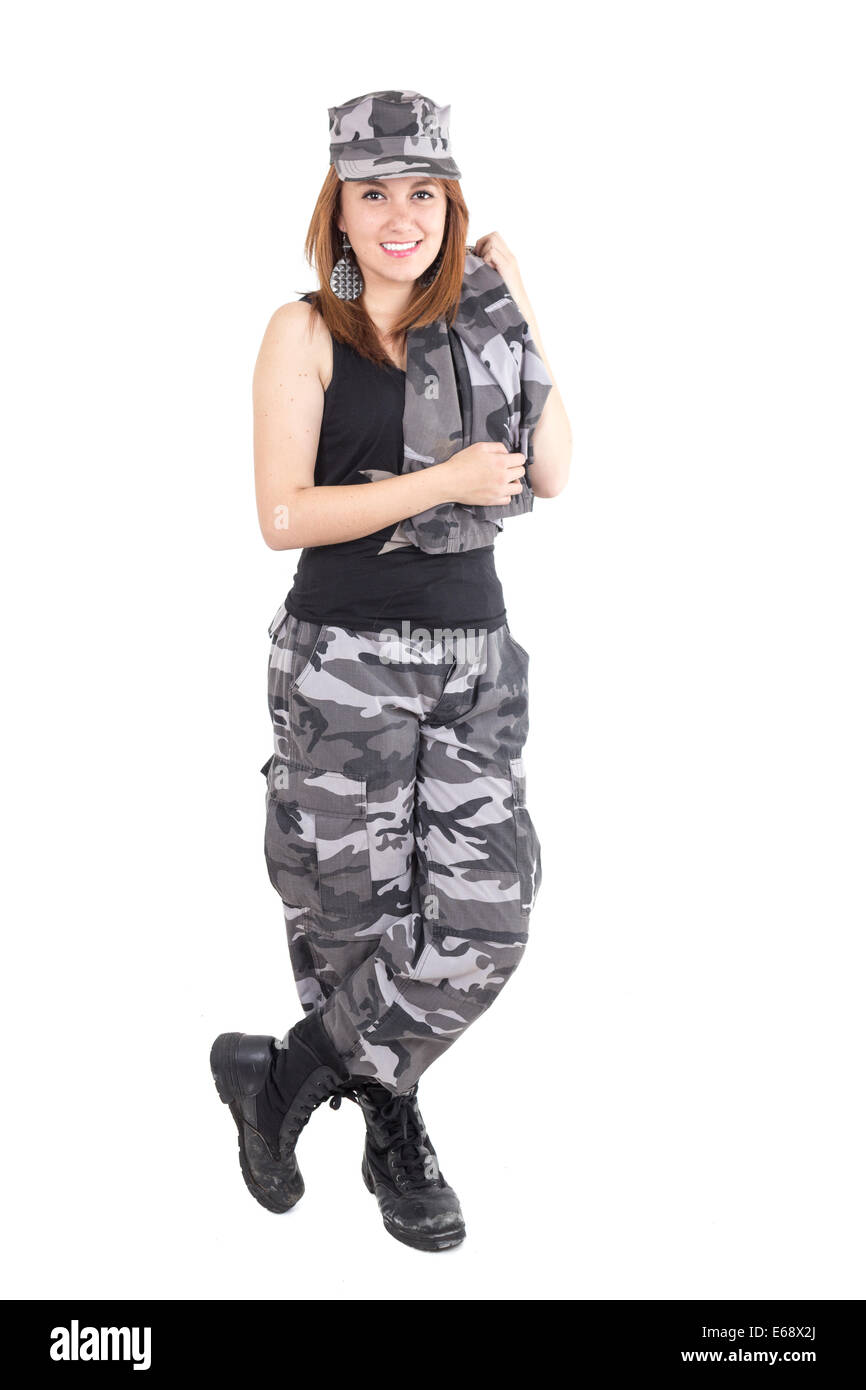 Beautiful young woman posing with gray military uniform Stock Photo