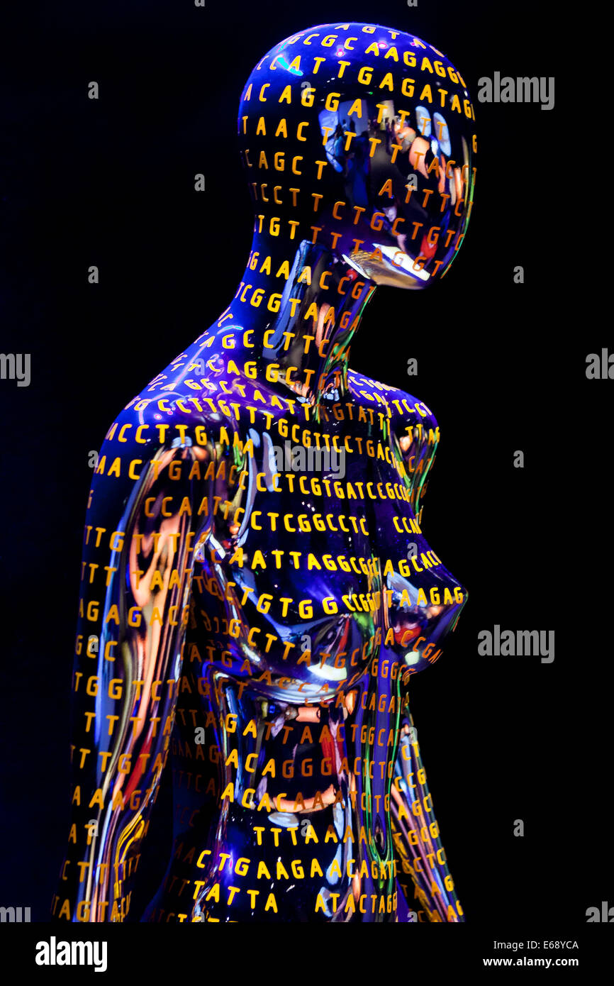 Female figure with DNA sequence illustrating Human Genome - USA - Stock Image