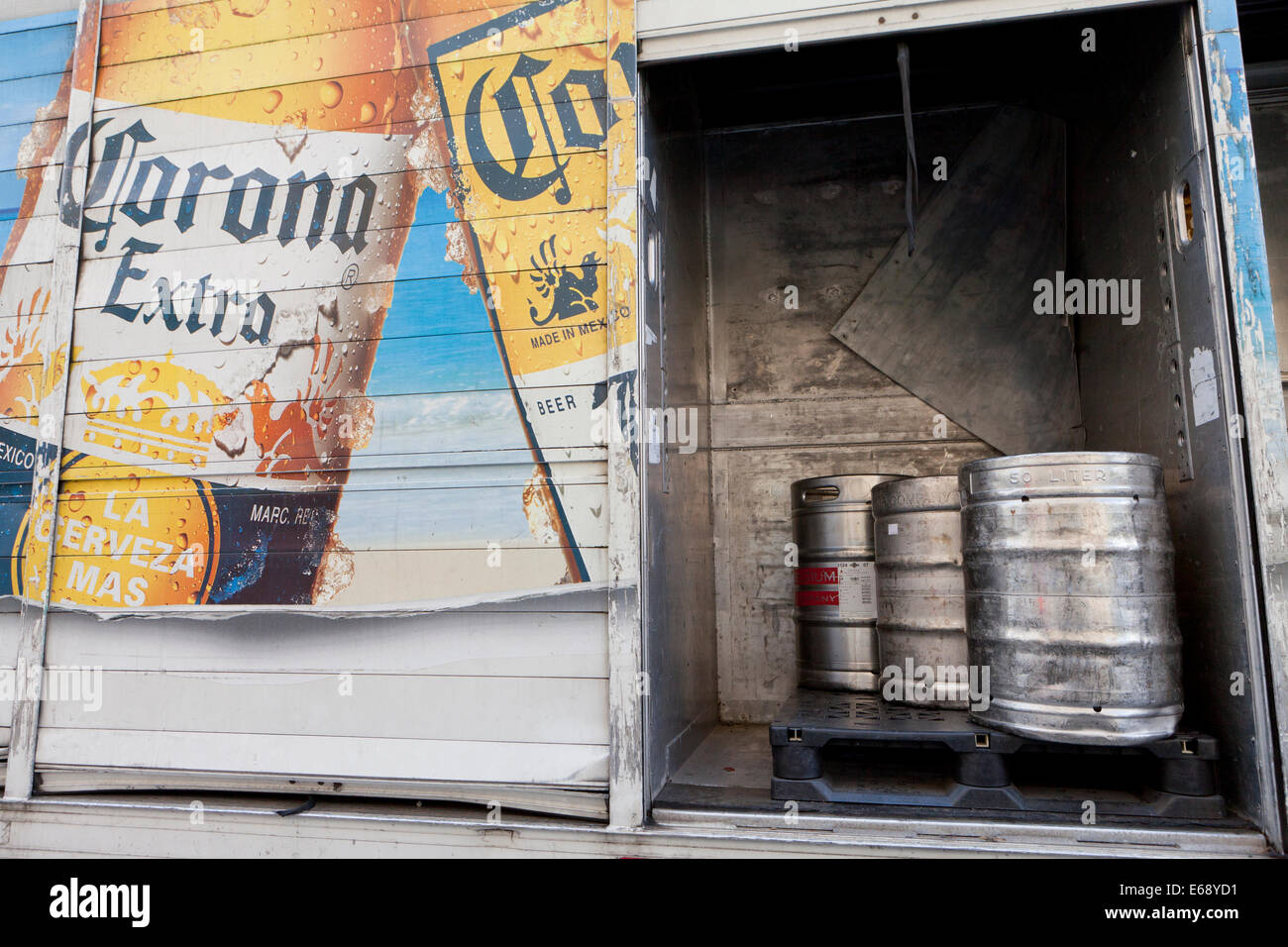 Corona beer kegs in delivery truck - USA - Stock Image
