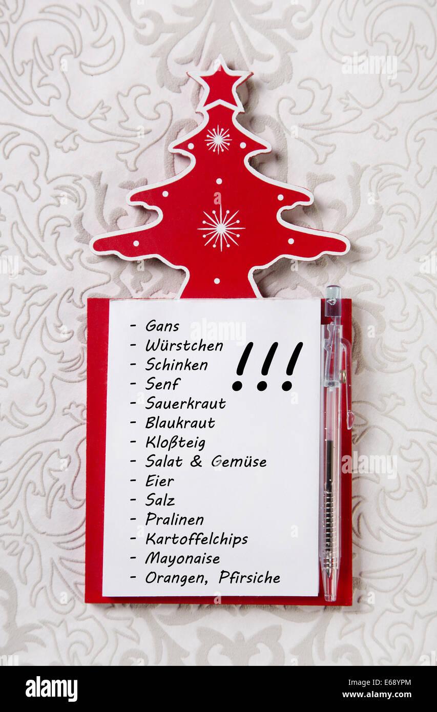 Christmas List Organizer.Christmas Shopping List In German Letters Xmas Organizer