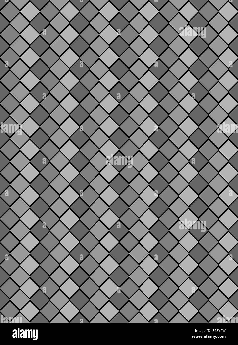 Four tones of gray variegated diamond snake style wallpaper texture pattern. - Stock Image