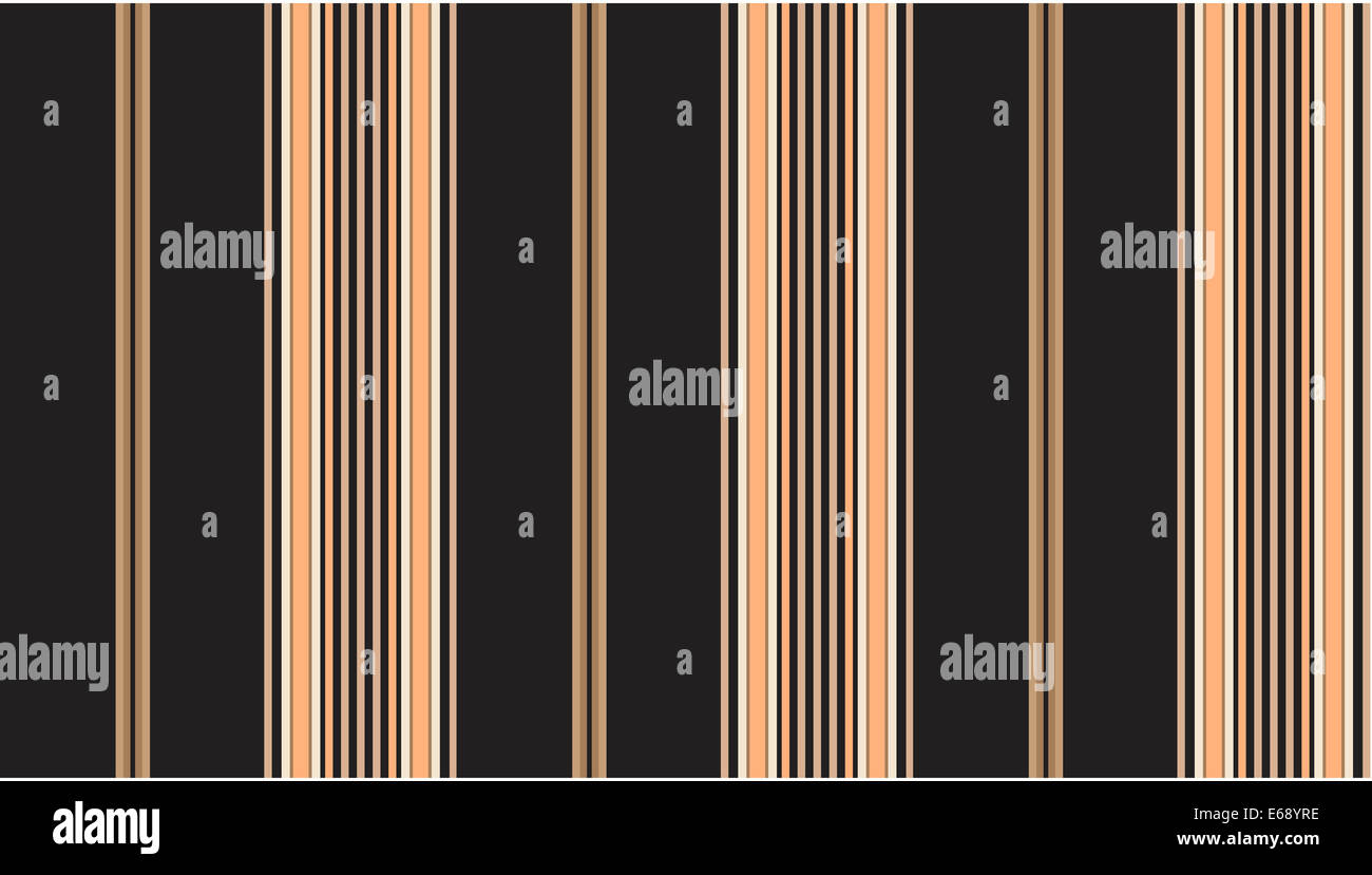Jpg.  Black and tan striped continuous seamless fabric or wallpaper background. - Stock Image