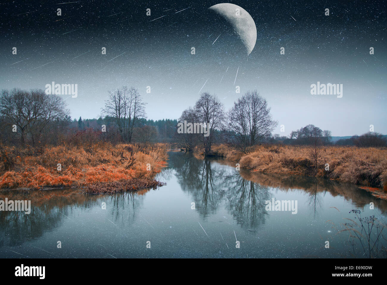 mystical landscape of the moon. Elements of this image furnished by NASA - Stock Image