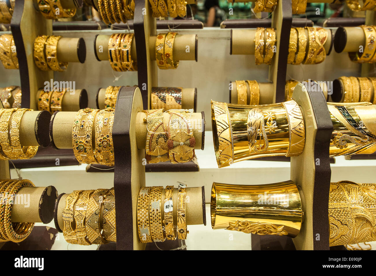 Gold jewelry bracelets in the deira gold souk market dubai for United international decor bahrain