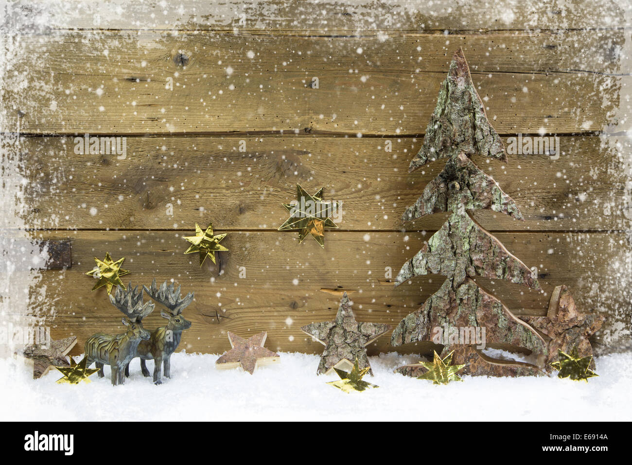 Wooden Country Style Christmas Background With Reindeer And Snow Idea For A Xmas Greeting Card