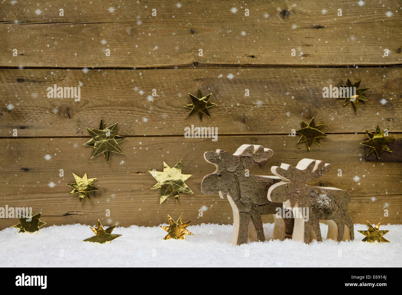 Country Style Christmas Background Of Wood With Handmade Reindeers