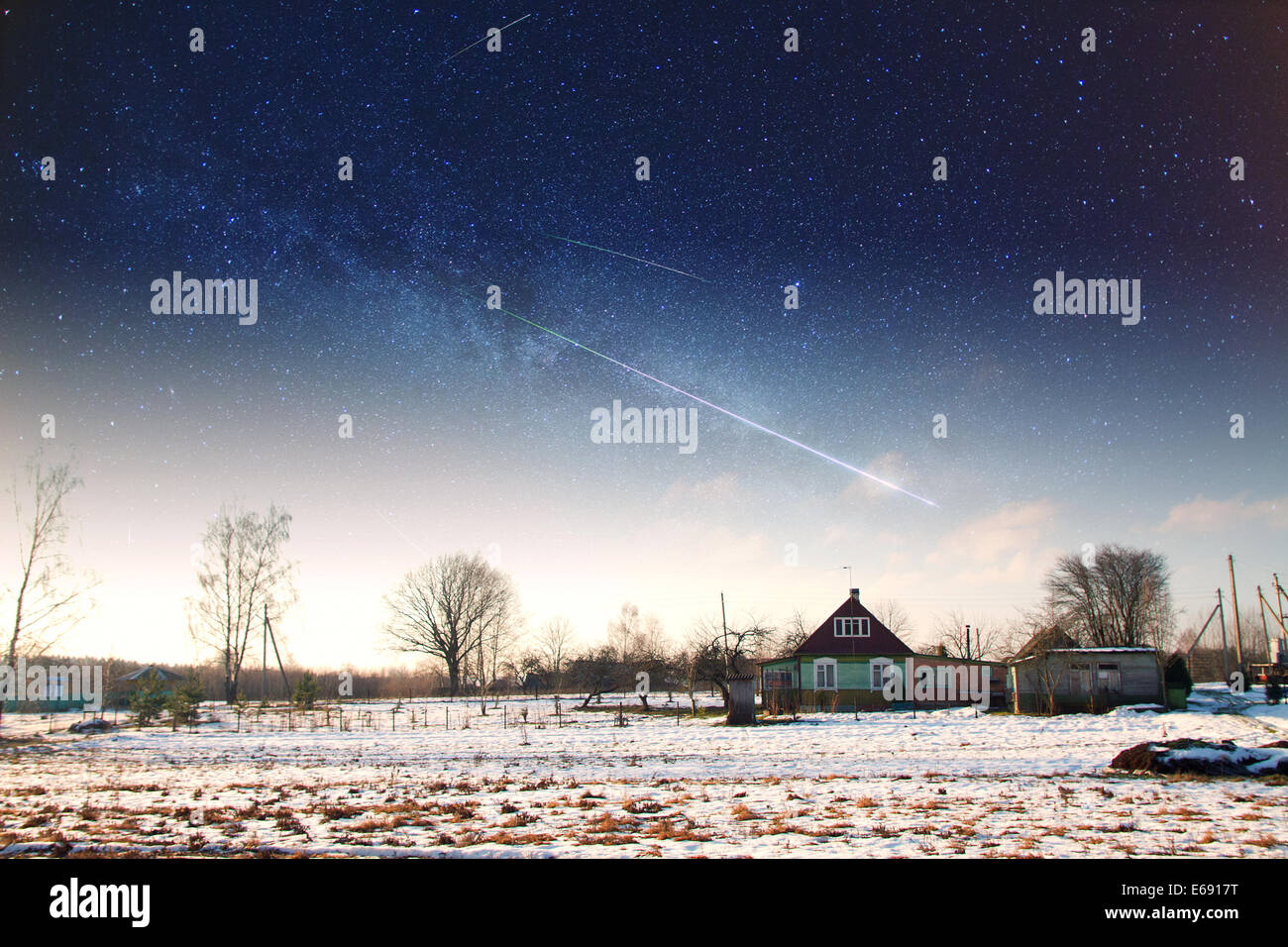 village in winter.  Elements of this image furnished by NASA - Stock Image