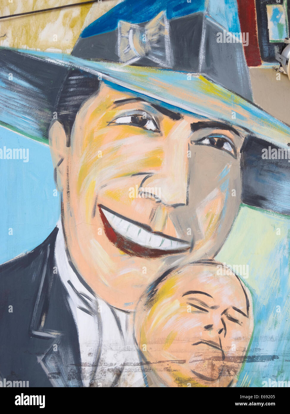 Tribute to Carlos Gardel in San Telmo Market, Buenos Aires, Argentina. Carlos Gardel is the most famous tango singer - Stock Image