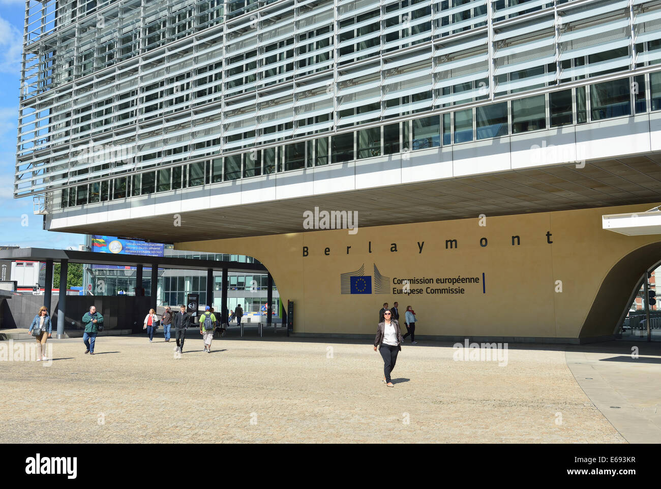 BRUSSELS, BELGIUM-AUGUST 05, 2014: Modern office of European Commission in European Quarter of Brussels Stock Photo