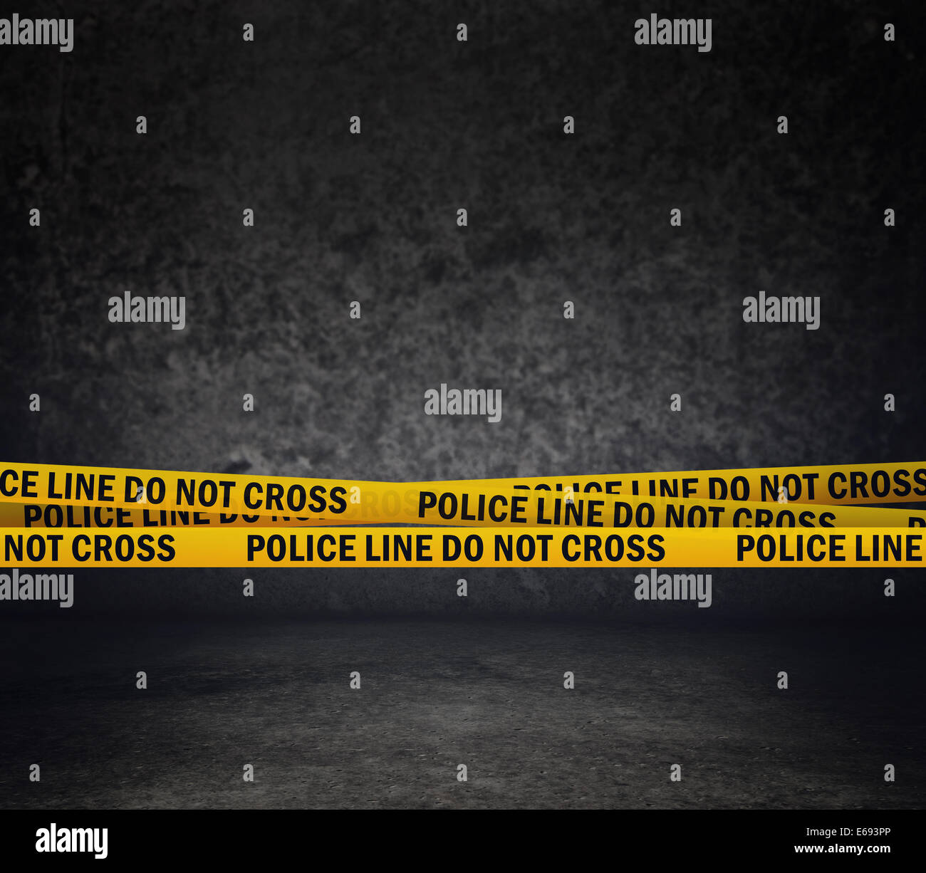 Police Line Do Not Cross Yellow Headband Tape. Murder Scene Police Ribbon. - Stock Image