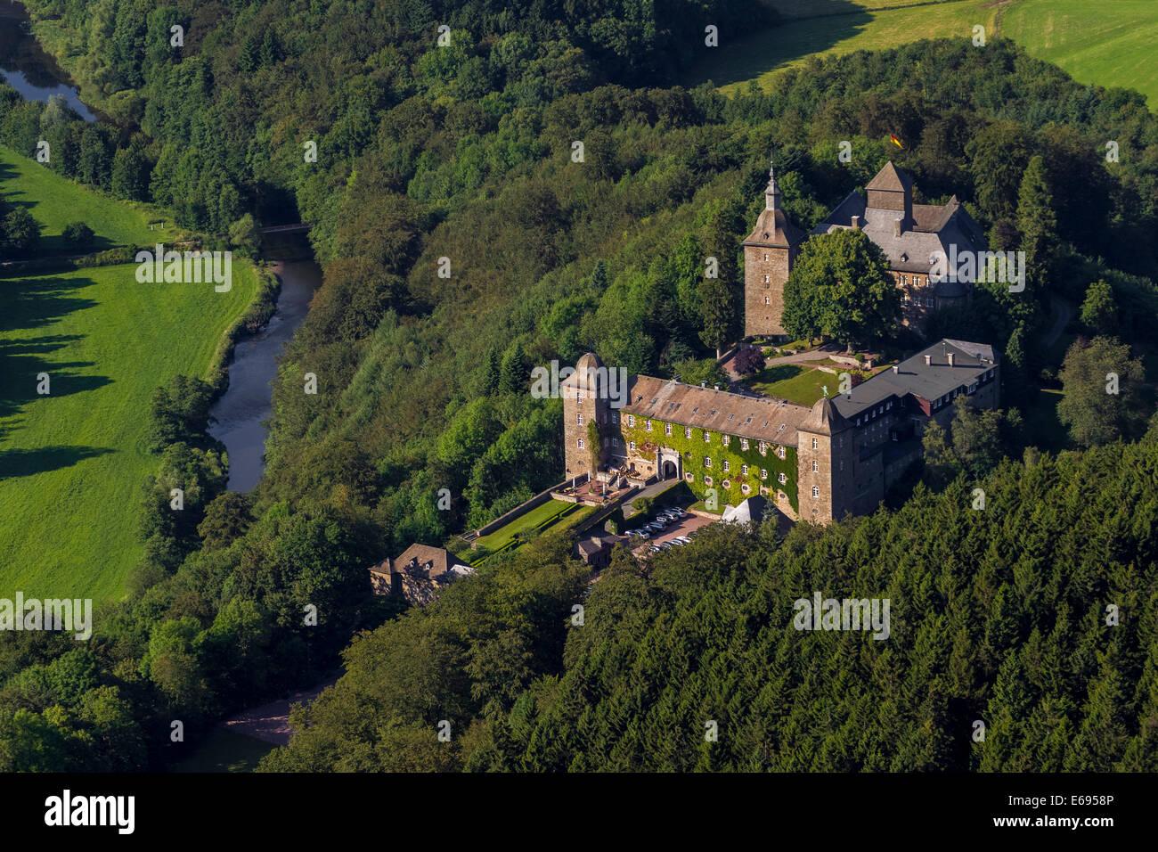 Hotel Burg Schnellenberg, aerial view, Attendorn, Sauerland, North Rhine-Westphalia, Germany Stock Photo
