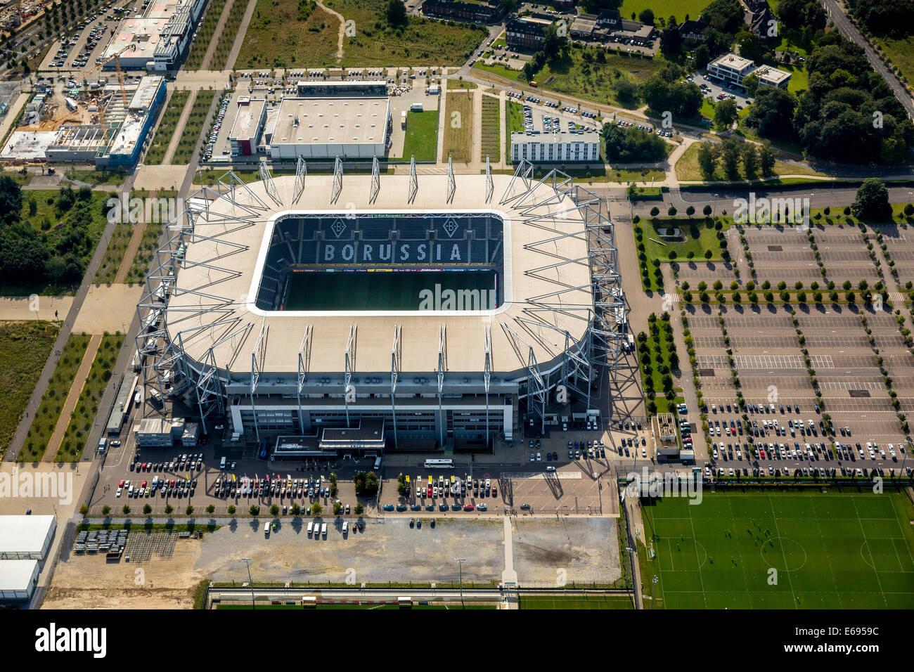 Aerial view, Borussia-Park, football stadium, Mönchengladbach, North Rhine-Westphalia, Germany - Stock Image