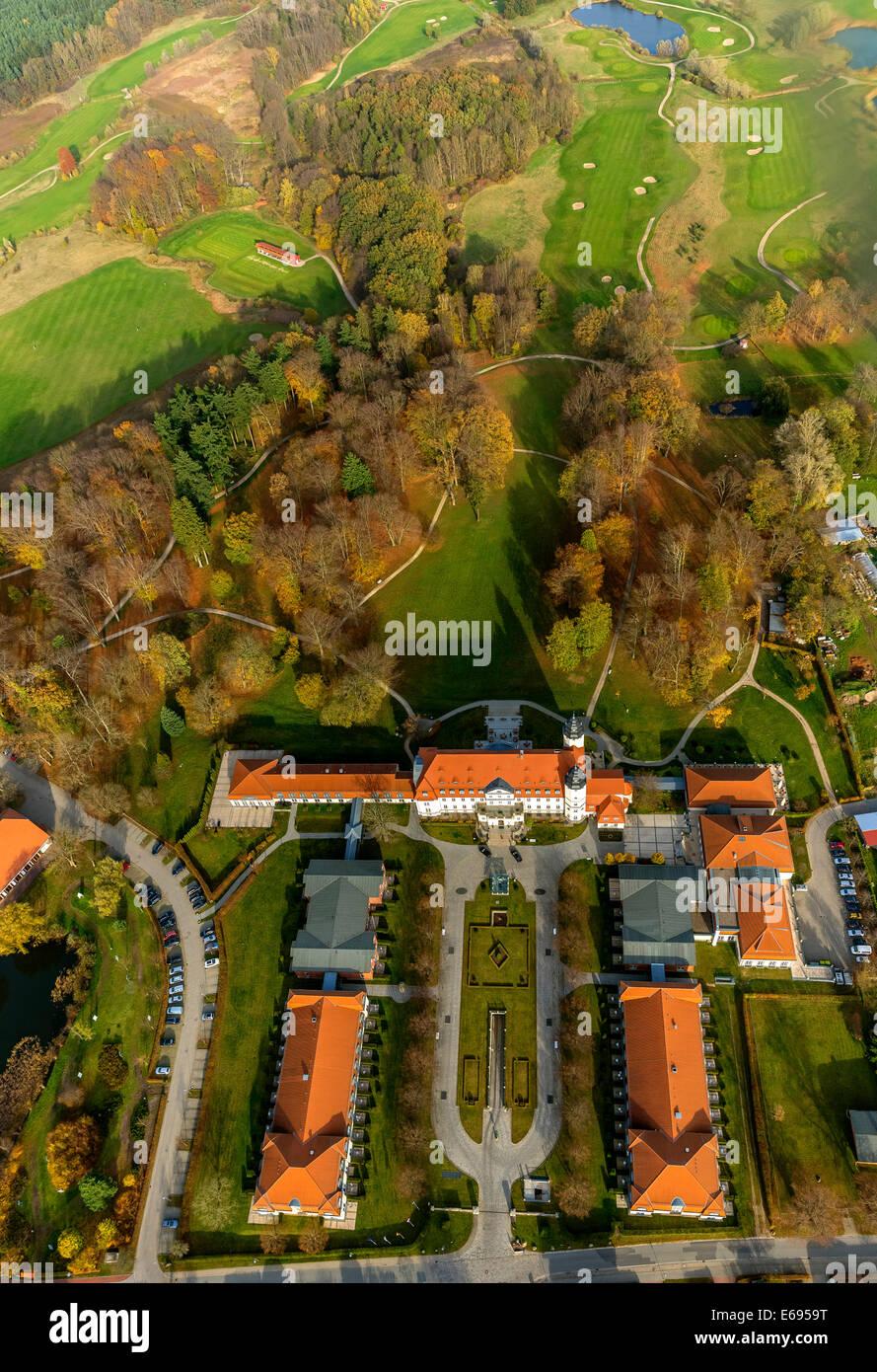 Aerial view, Radisson Blu Resort Schloss Fleesensee, Scandinavian Golf Club in Göhren-Lebbin, Müritz lake - Stock Image