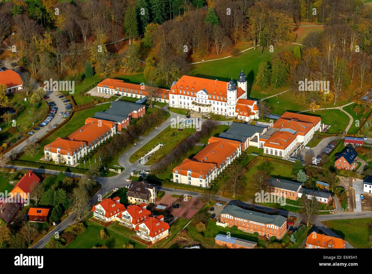 Aerial view, Radisson Blu Resort Schloss Fleesensee, Scandinavian Golf Club in Göhren-Lebbin, Mecklenburg-Western - Stock Image