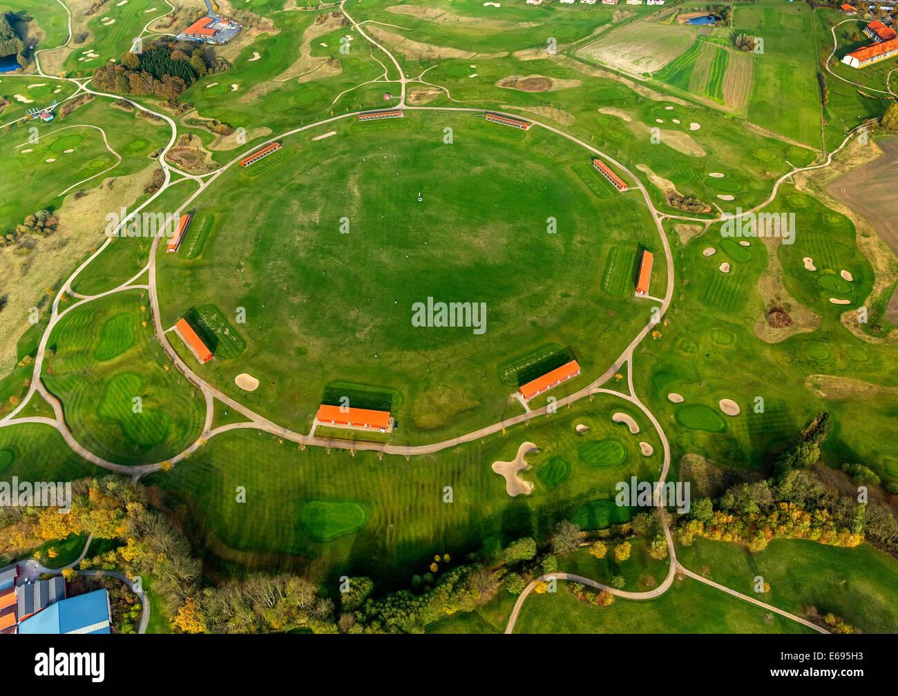 Aerial view, Driving Range of the Golf and Country Club Fleesensee, Scandinavian Golf Club in Göhren-Lebbin - Stock Image