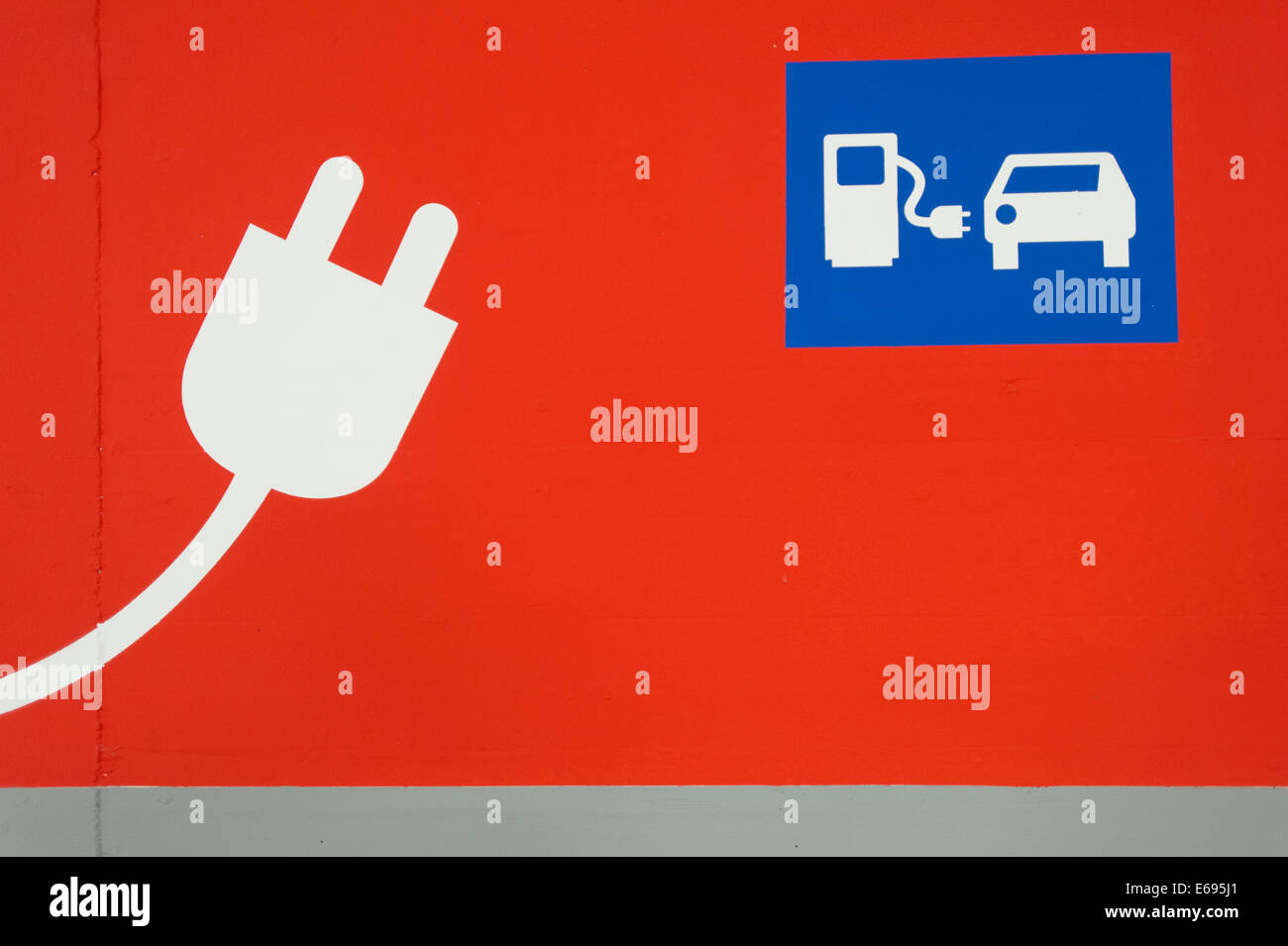 Pictogram, E.ON electric car charging station, Munich, Upper Bavaria, Bavaria, Germany - Stock Image