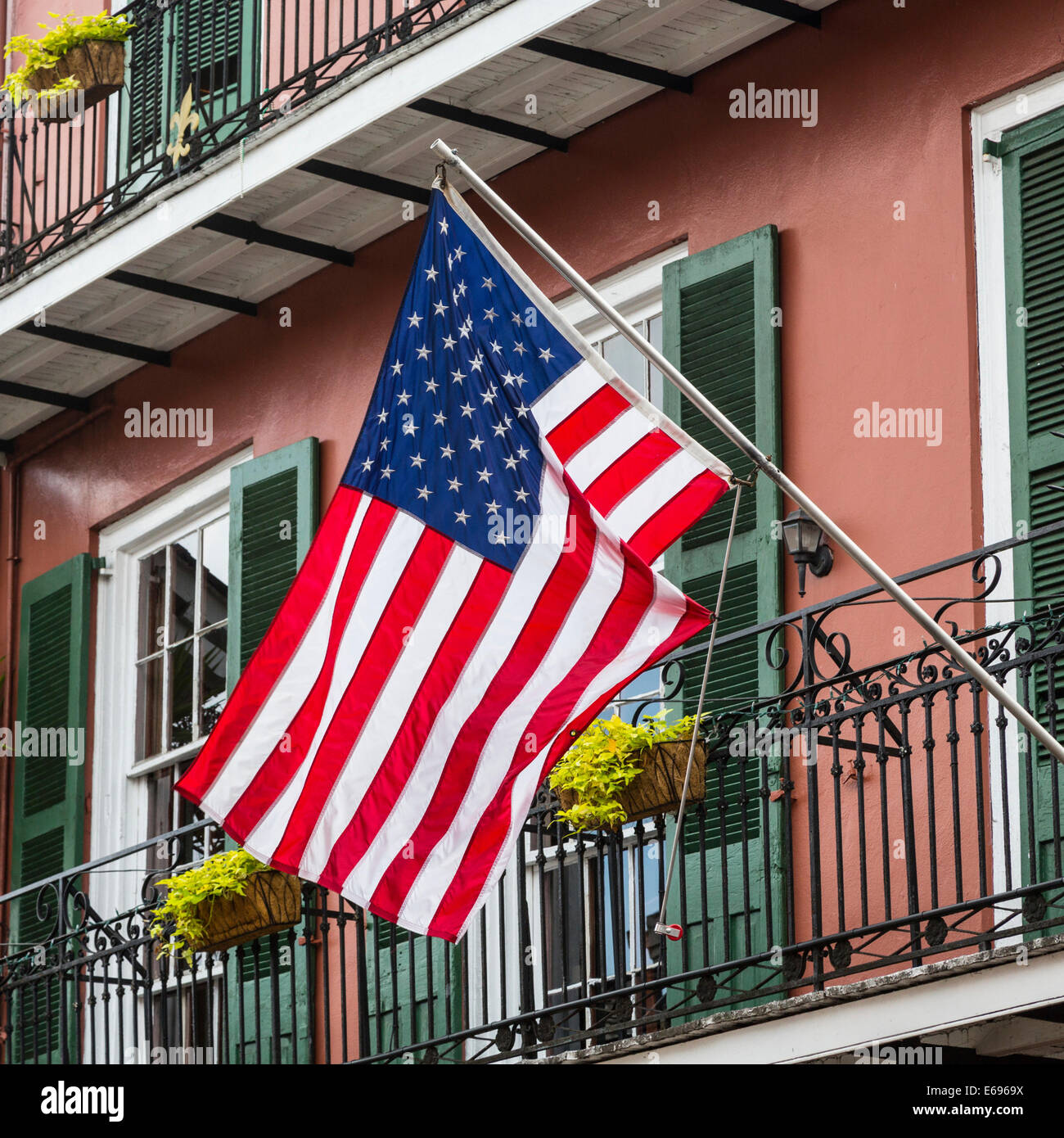 American Flag Outside A Historic House In The French Quarter New
