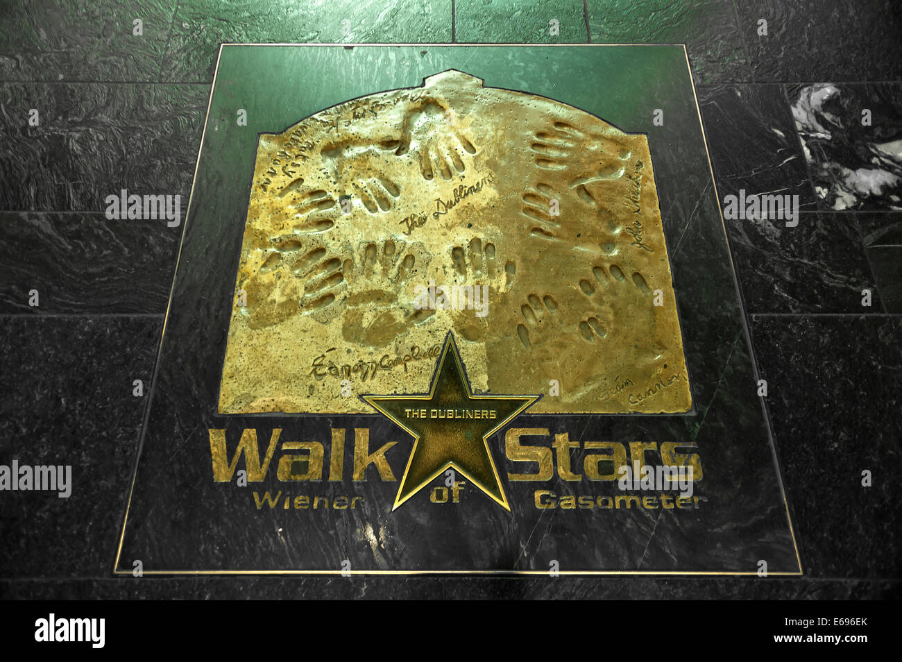 Walk of Stars, star of the musical group 'The Dubliners' in the former gasometer, Guglgasse, Vienna, Vienna - Stock Image