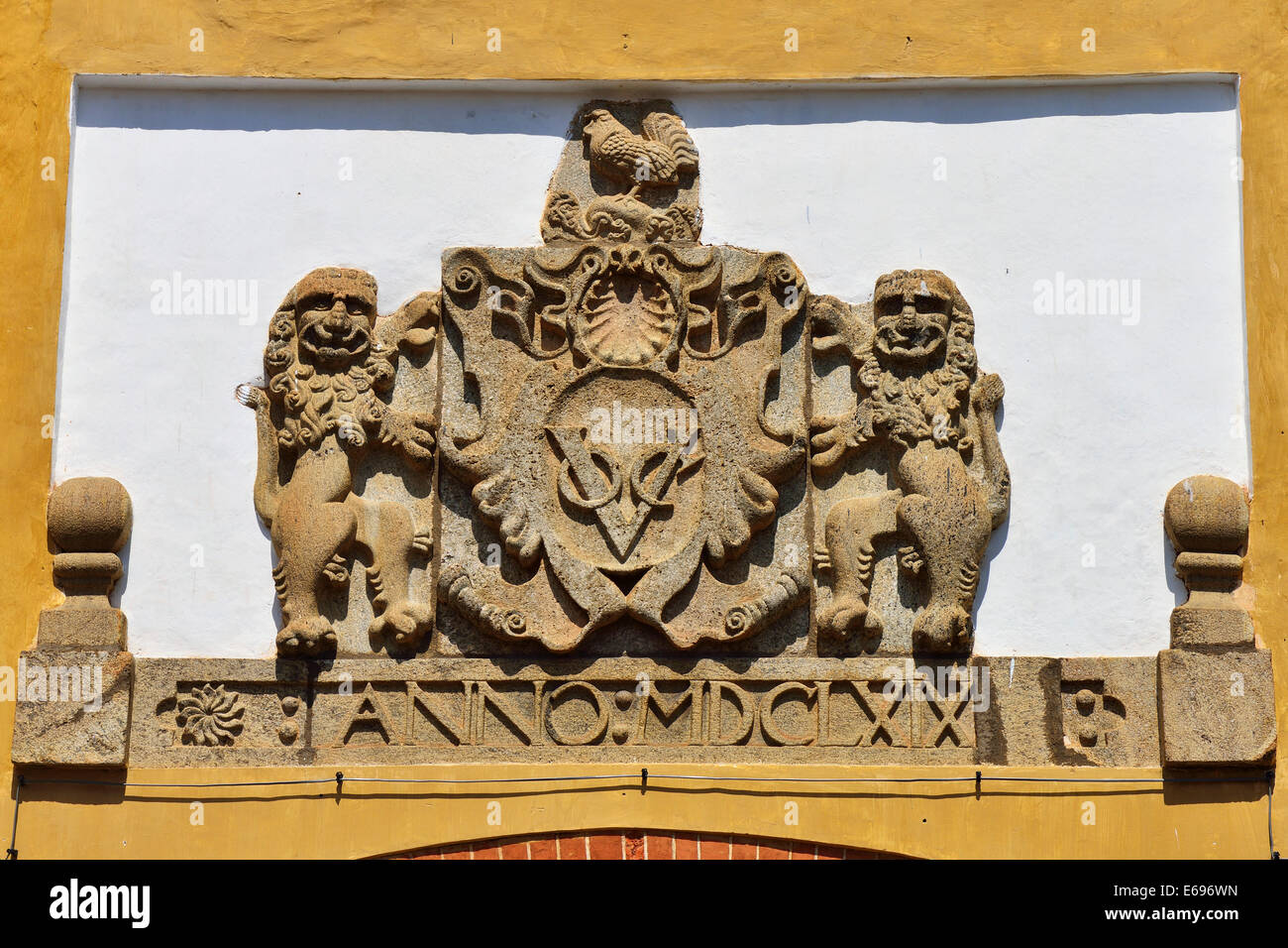 The coat of arms of the Dutch East India Company above the Portuguese Gate, UNESCO World Heritage Site, Galle Fort, - Stock Image