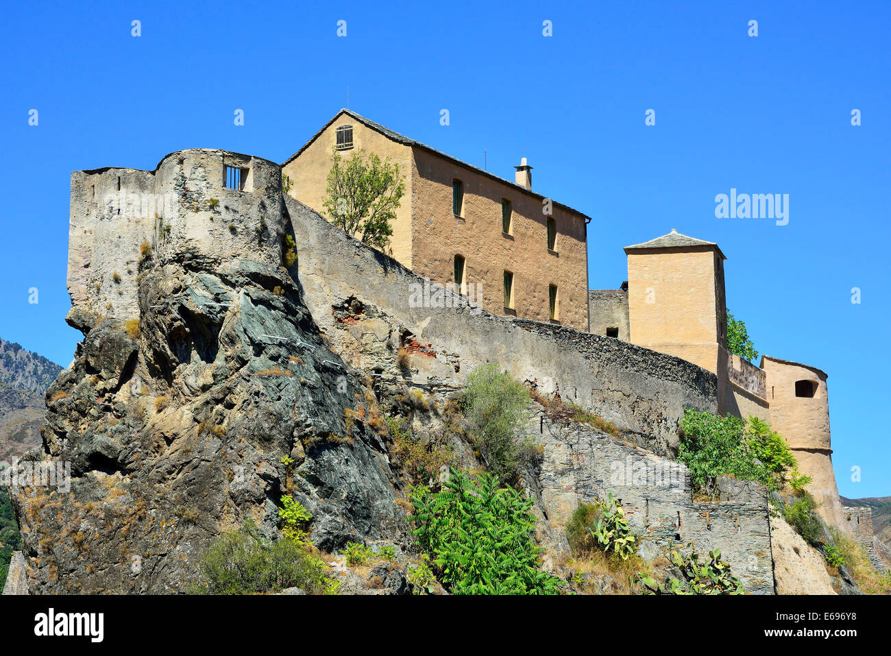The citadel with the Eagle's Nest bastion, Corte, Corsica, France - Stock Image