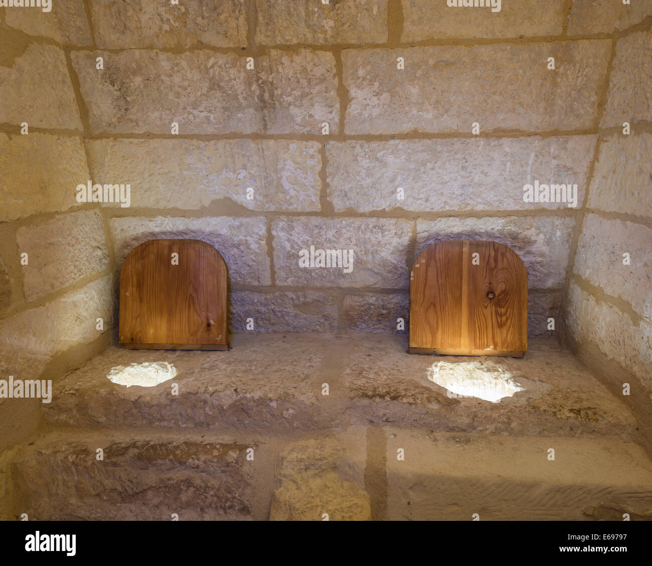 Simple Medieval Toilet In The Castillo De Belmonte Castle Cuenca Province Region