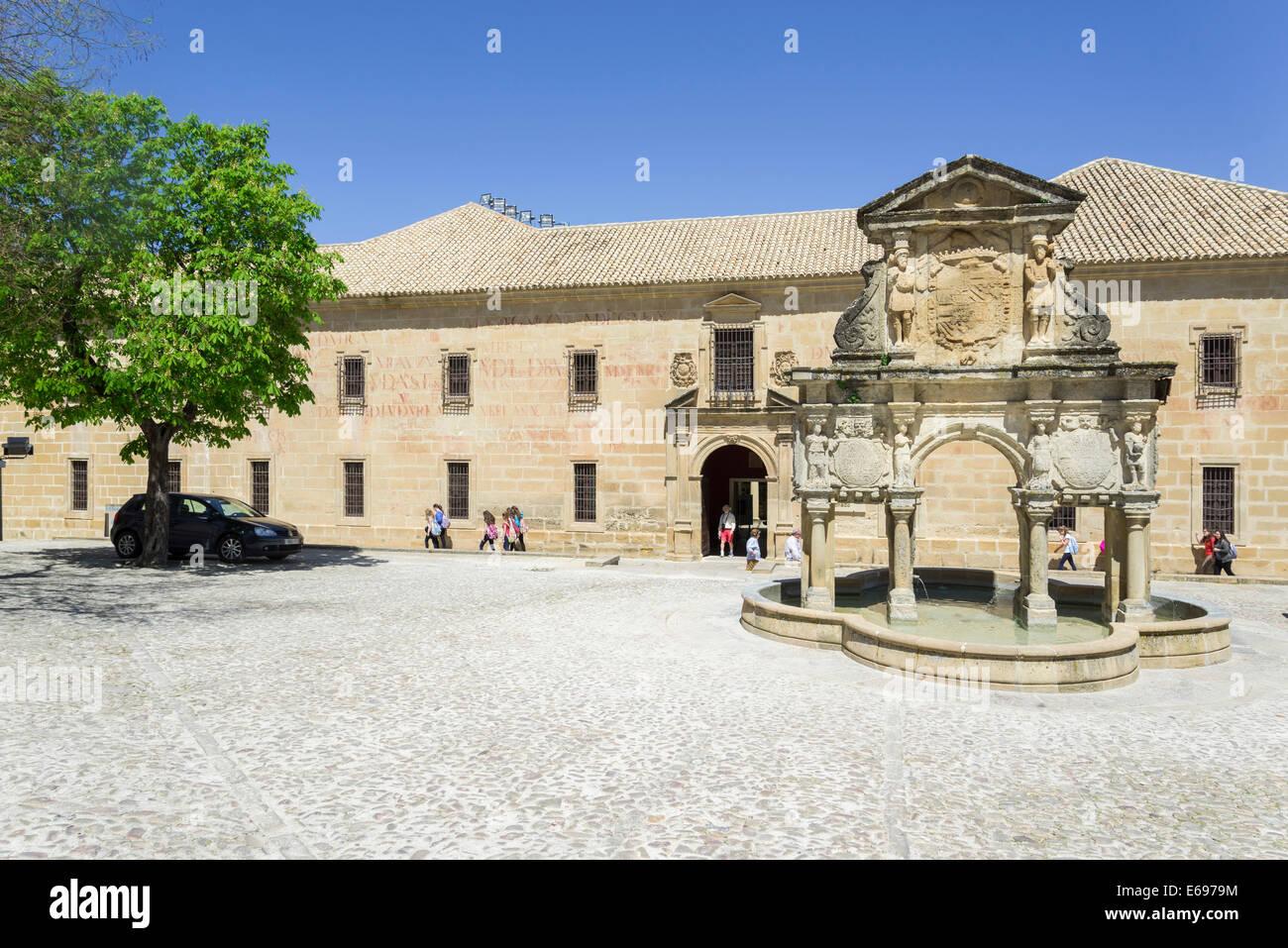 Renaissance fountain, Baeza, Jaén province, Andalucía, Spain Stock Photo