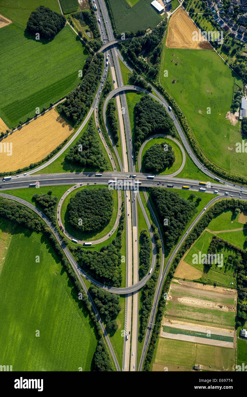 Aerial view, Mönchengladbach motorway junction, junction of the A61 and A52 motorways, clover-shape, Mönchengladbach - Stock Image