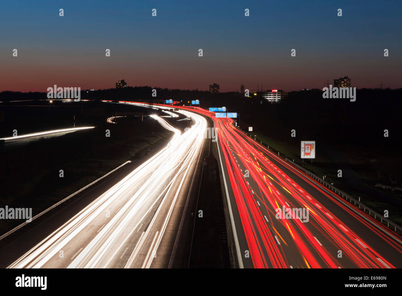 Rush hour on the A8 motorway, Baden-Württemberg, Germany - Stock Image