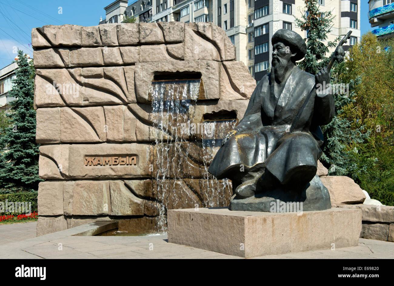 Monument to the folk singer Jambyl Jabayev, Almaty, Kazakhstan - Stock Image