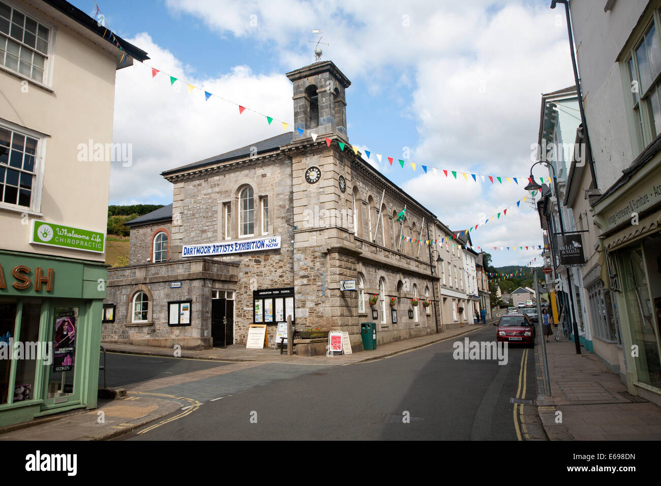 Shops and town hall in North Street, Ashburton, Devon, England, - Stock Image