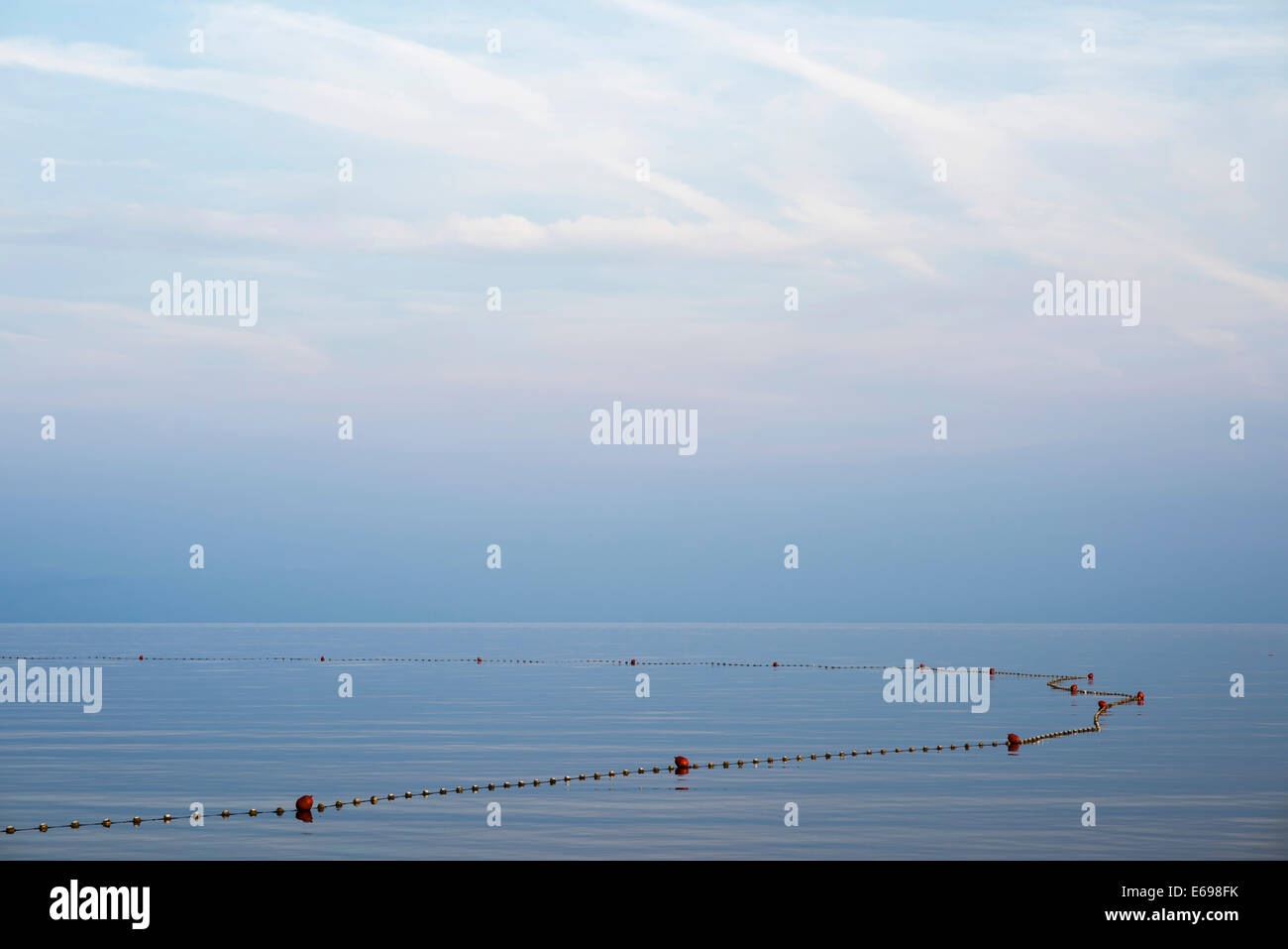 Blocked off non-swimmers area in the sea, in Umag, Monterol, Istria, Croatia Stock Photo