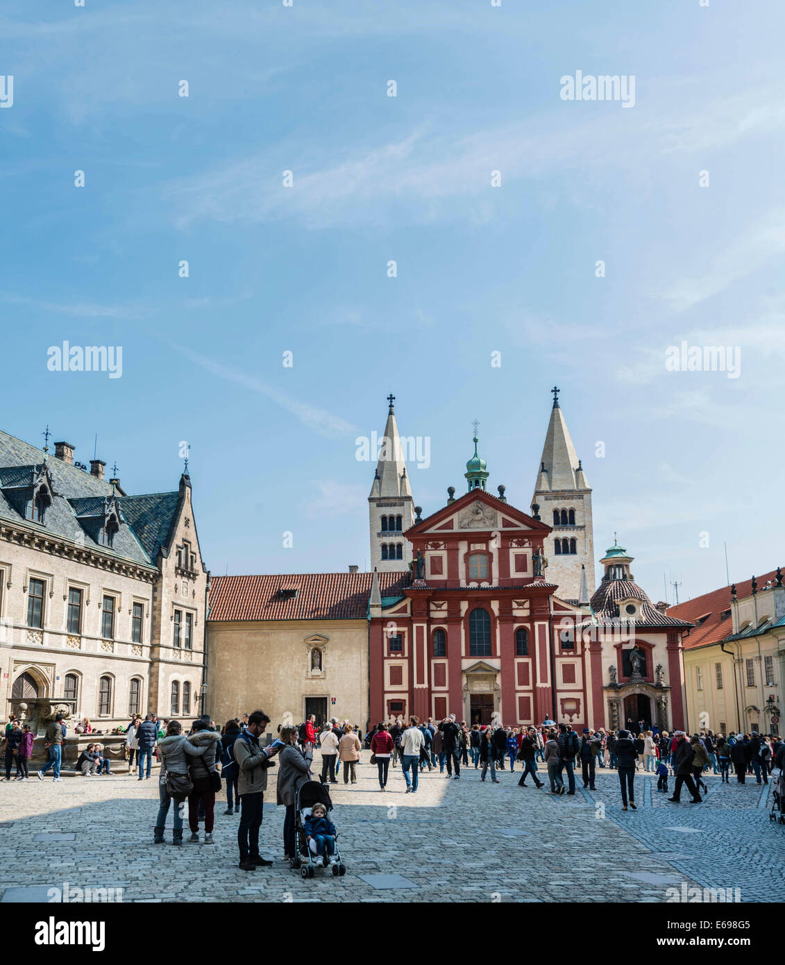 St. George's Basilica, Prague Castle, Hradcany, Prague, Czech Republic - Stock Image