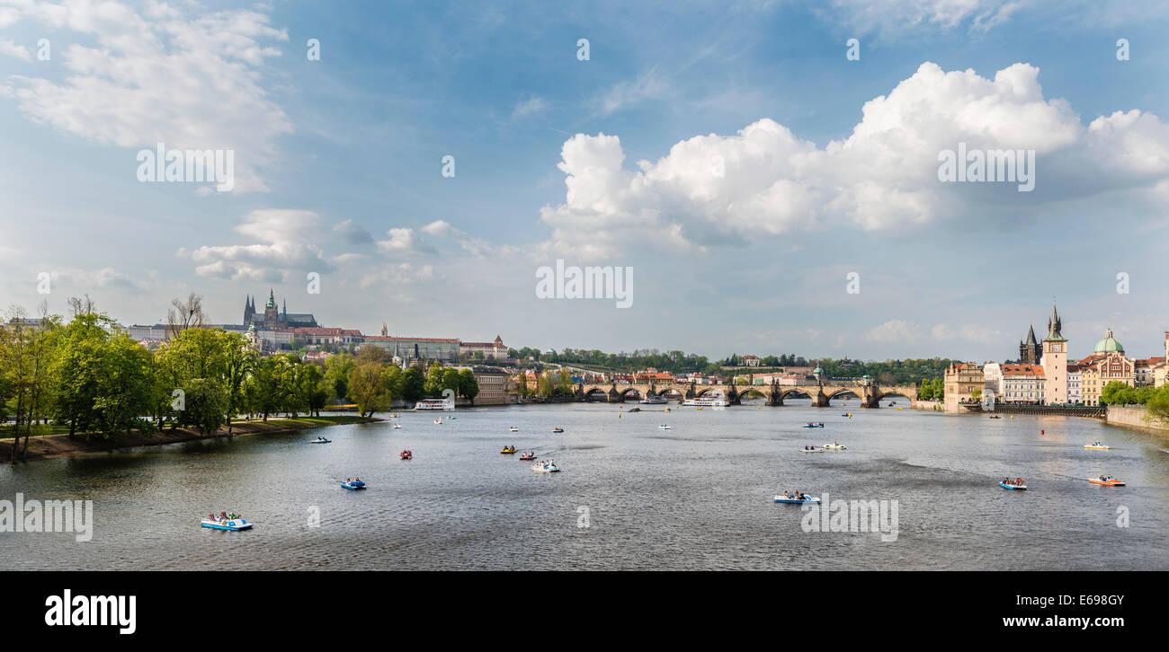 Vltava river with Charles Bridge or Karlův most, UNESCO World Heritage Site, Prague, Czech Republic - Stock Image
