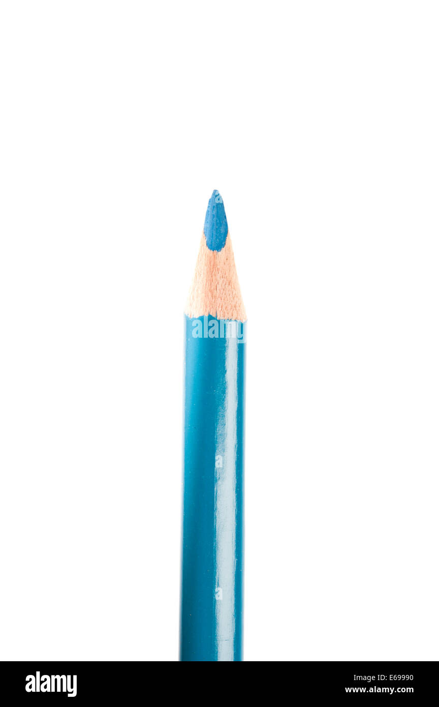 blue colored pencil isolated - Stock Image