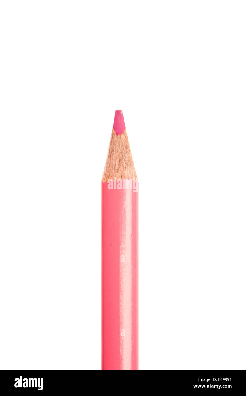pink colored pencil isolated - Stock Image
