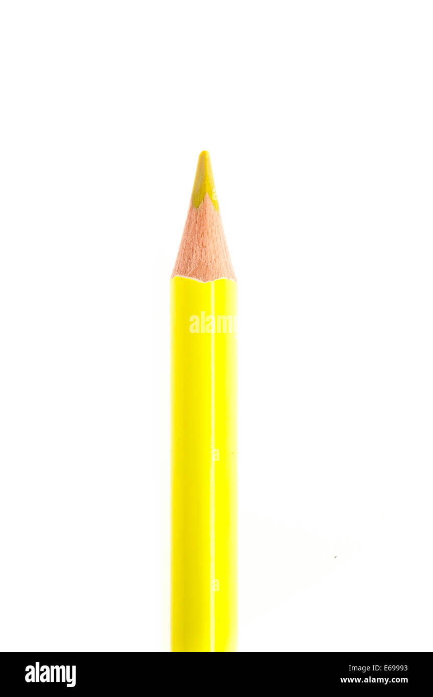 yellow colored pencil isolated - Stock Image