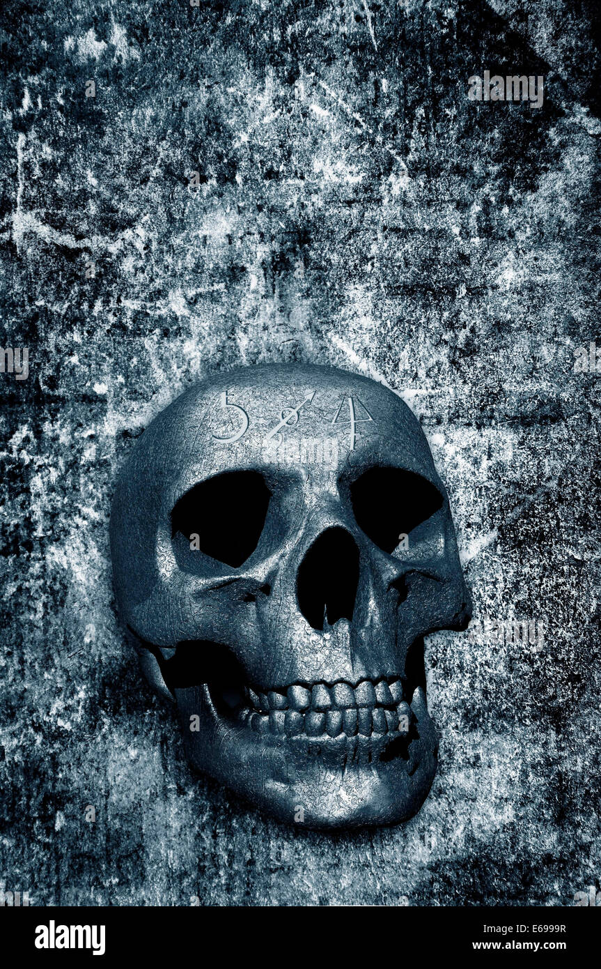 Human Skull With Esoteric Symbols Stock Photos & Human Skull With