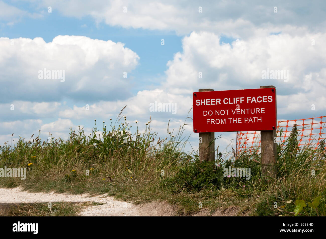 Sheer Cliff Faces warning sign. - Stock Image